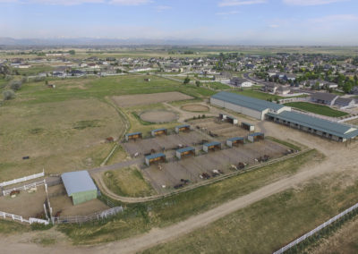 Aerial of CH Equine Barn & Paddocks